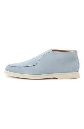 Женские замшевые ботинки open walk LORO PIANA голубого цвета, арт. FAE9959 | Фото 3