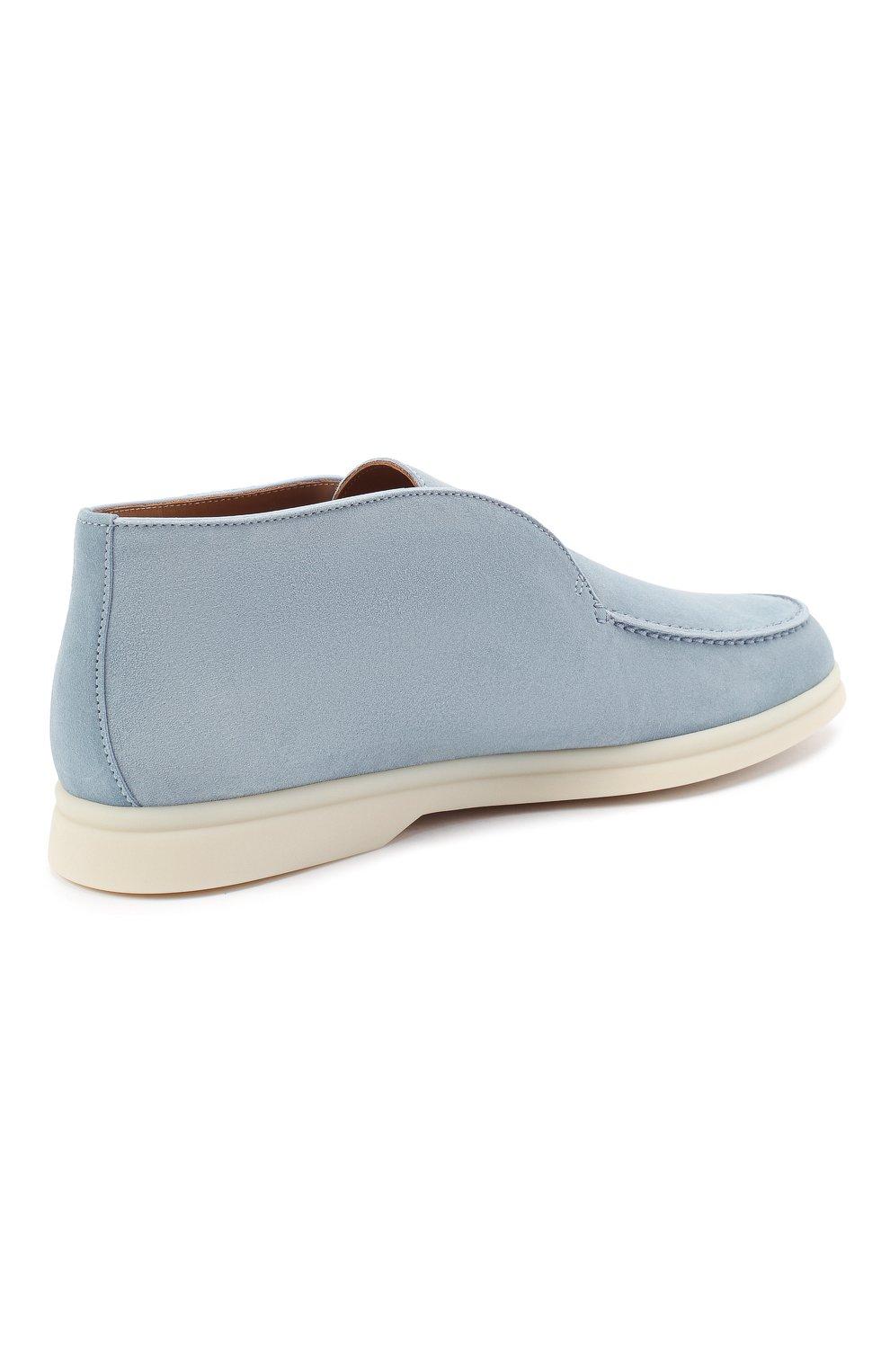 Женские замшевые ботинки open walk LORO PIANA голубого цвета, арт. FAE9959 | Фото 4