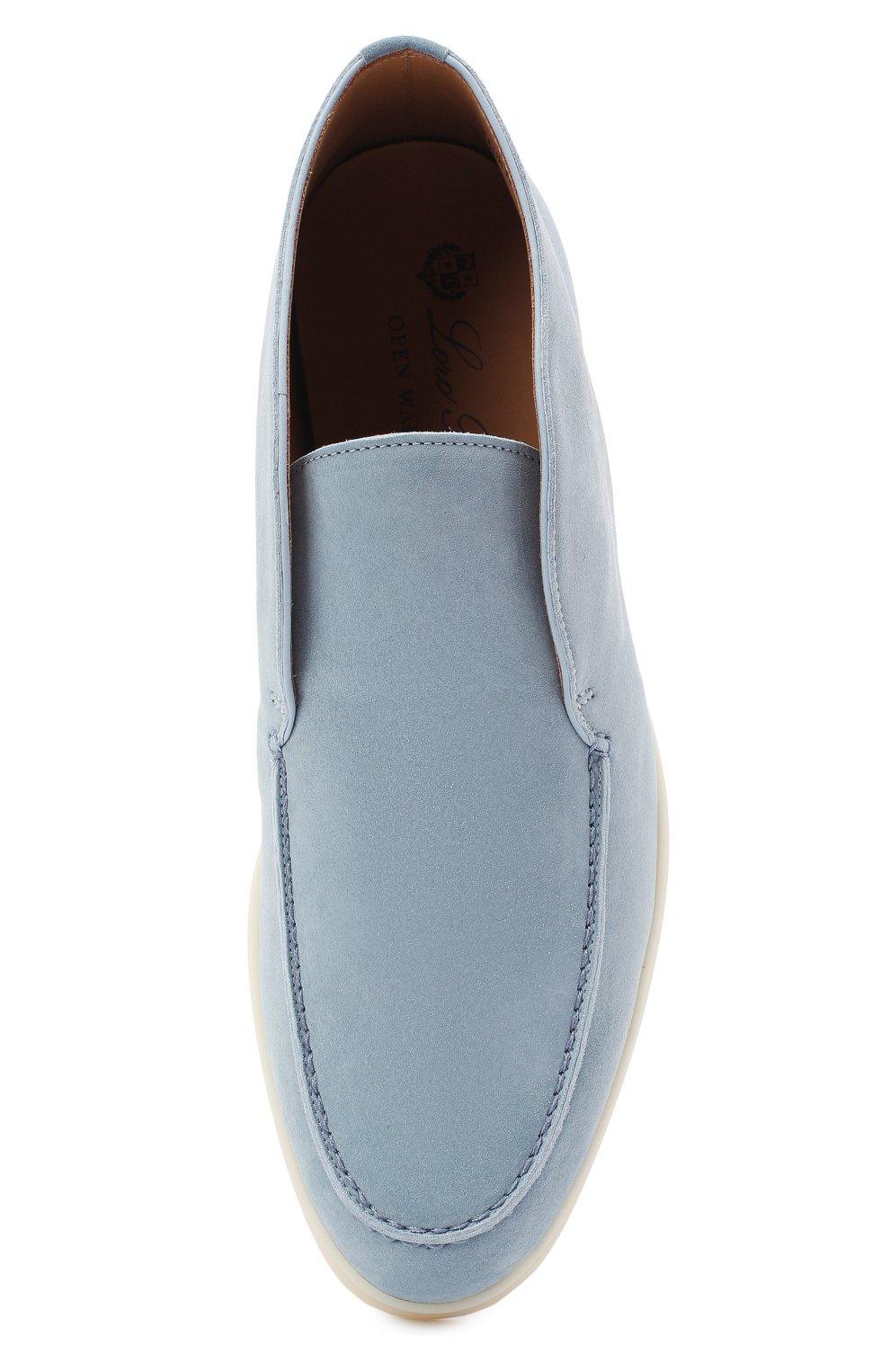 Женские замшевые ботинки open walk LORO PIANA голубого цвета, арт. FAE9959 | Фото 5