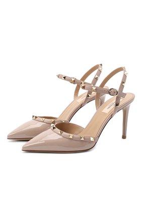 Женская лаковые туфли valentino garavani rockstud VALENTINO бежевого цвета, арт. UW2S0S98/VNW | Фото 1
