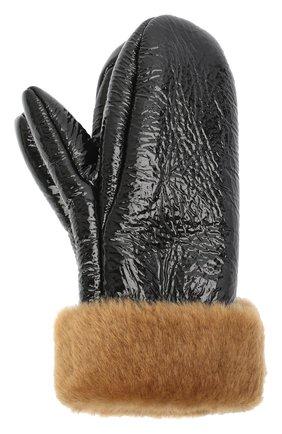 Женские меховые варежки YVES SALOMON черного цвета, арт. 20WAA314XXMEVN | Фото 1