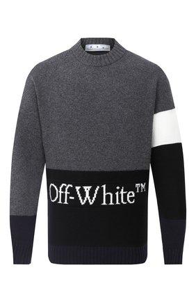 Мужской шерстяной свитер OFF-WHITE серого цвета, арт. 0MHE048E20KNI0010701   Фото 1