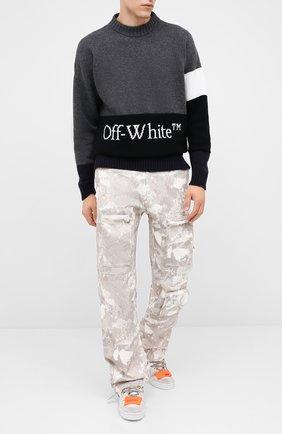 Мужской шерстяной свитер OFF-WHITE серого цвета, арт. 0MHE048E20KNI0010701   Фото 2