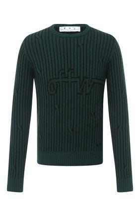 Мужской свитер из шерсти и хлопка OFF-WHITE зеленого цвета, арт. 0MHE043E20KNI0015700 | Фото 1