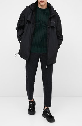 Мужской свитер из шерсти и хлопка OFF-WHITE зеленого цвета, арт. 0MHE043E20KNI0015700 | Фото 2