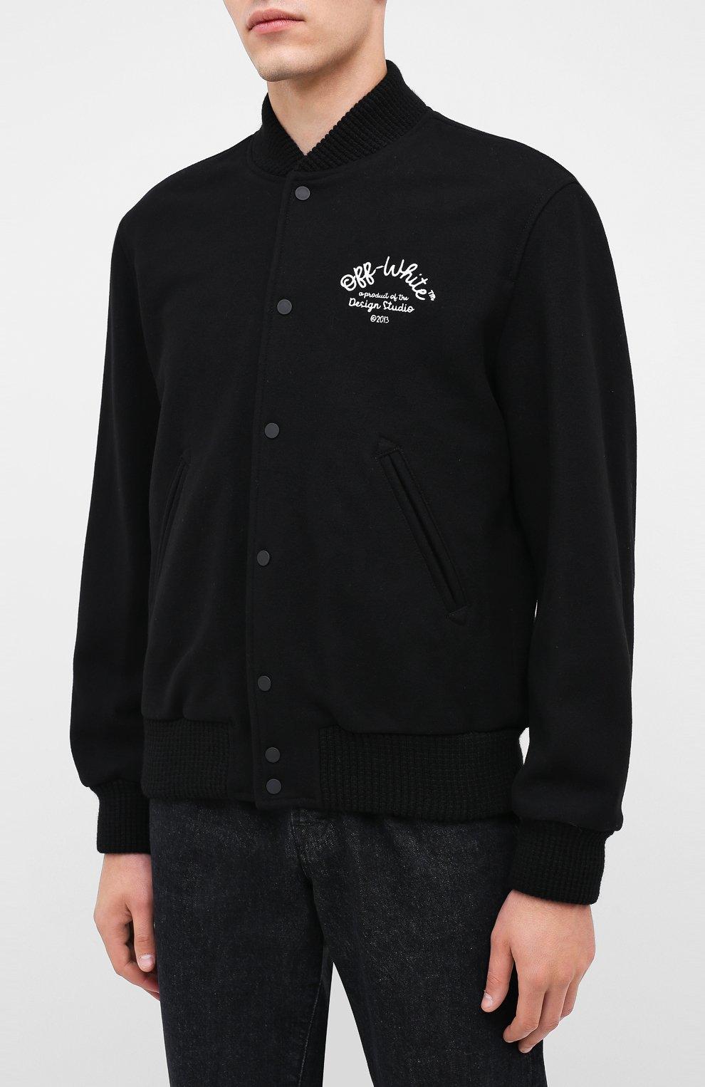 Мужской шерстяной бомбер OFF-WHITE черного цвета, арт. 0MEA224E20FAB0011001   Фото 3