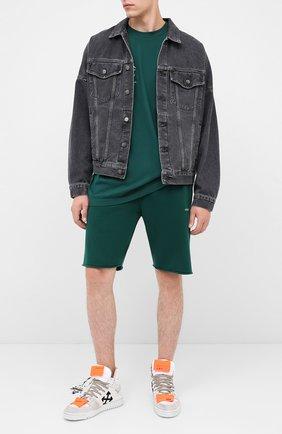 Мужские хлопковые шорты OFF-WHITE зеленого цвета, арт. 0MCI006E20FLE0055710 | Фото 2