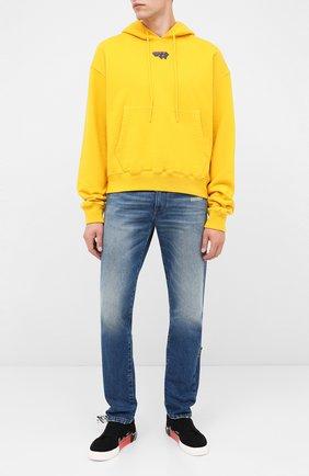 Мужской хлопковое худи OFF-WHITE желтого цвета, арт. 0MBB037E20FLE0081810   Фото 2