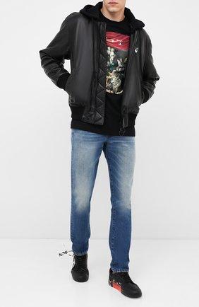 Мужская хлопковый лонгслив OFF-WHITE черного цвета, арт. 0MAB001E20JER0051010   Фото 2