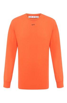 Мужская хлопковый лонгслив OFF-WHITE оранжевого цвета, арт. 0MAB001E20JER0042010   Фото 1