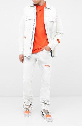 Мужская хлопковый лонгслив OFF-WHITE оранжевого цвета, арт. 0MAB001E20JER0042010   Фото 2
