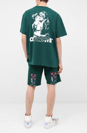 Мужская хлопковая футболка OFF-WHITE зеленого цвета, арт. 0MAA038E20JER0085701 | Фото 2