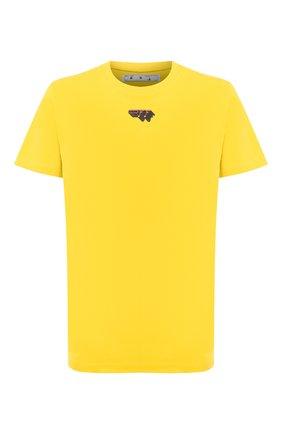 Мужская хлопковая футболка OFF-WHITE желтого цвета, арт. 0MAA027E20JER0121810 | Фото 1