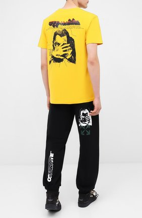 Мужская хлопковая футболка OFF-WHITE желтого цвета, арт. 0MAA027E20JER0121810   Фото 2