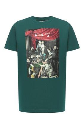 Мужская хлопковая футболка OFF-WHITE зеленого цвета, арт. 0MAA027E20JER0085710 | Фото 1