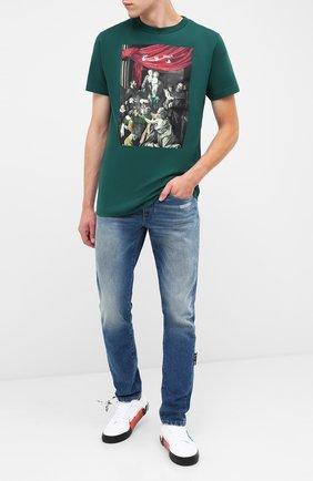 Мужская хлопковая футболка OFF-WHITE зеленого цвета, арт. 0MAA027E20JER0085710 | Фото 2