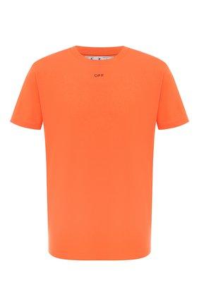Мужская хлопковая футболка OFF-WHITE оранжевого цвета, арт. 0MAA027E20JER0062010   Фото 1