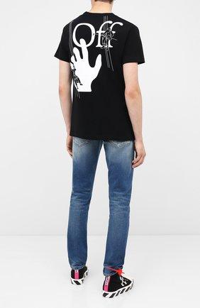 Мужская хлопковая футболка OFF-WHITE черного цвета, арт. 0MAA027E20JER0041001   Фото 2