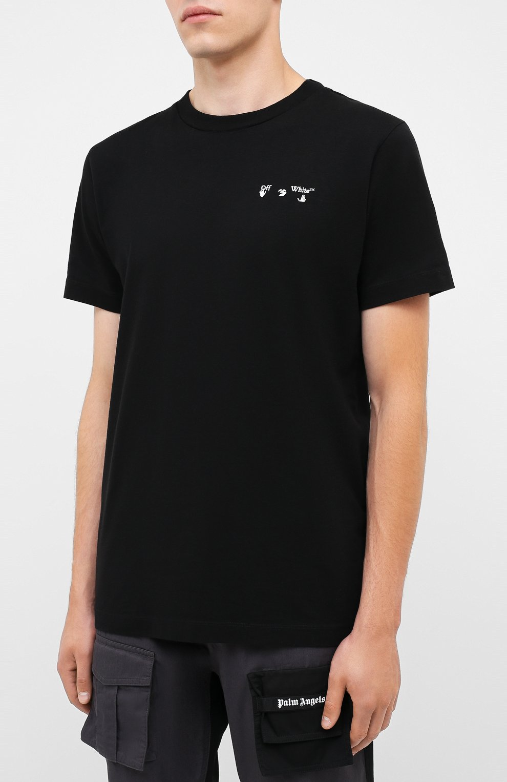 Мужская хлопковая футболка OFF-WHITE черного цвета, арт. 0MAA027E20JER0011001   Фото 3