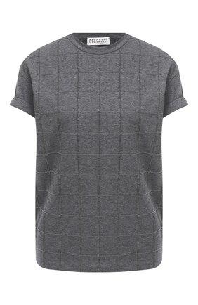 Женская хлопковая футболка BRUNELLO CUCINELLI темно-серого цвета, арт. M0T18BE100   Фото 1