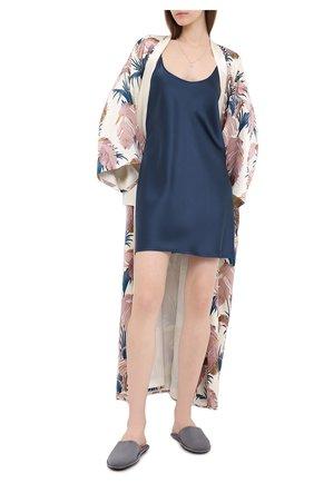 Женская шелковая сорочка LA PERLA синего цвета, арт. 0020291 | Фото 2