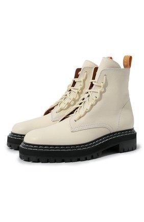 Женские кожаные ботинки PROENZA SCHOULER белого цвета, арт. PS35113A/12113 | Фото 1 (Материал внутренний: Натуральная кожа; Подошва: Платформа; Женское Кросс-КТ: Военные ботинки; Каблук высота: Низкий)