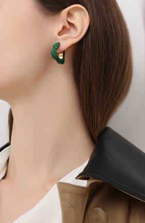 Женские серьги BOTTEGA VENETA зеленого цвета, арт. 617684/VCCU3 | Фото 2