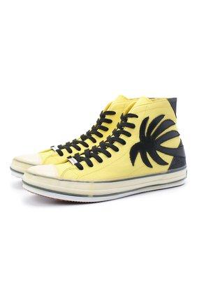 Мужские текстильные кеды PALM ANGELS желтого цвета, арт. PMIA048E20FAB0011810 | Фото 1