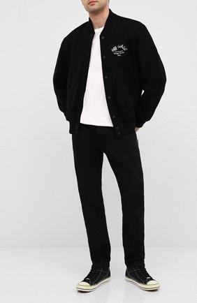 Мужские кожаные кеды PALM ANGELS черного цвета, арт. PMIA048E20LEA0011001 | Фото 2