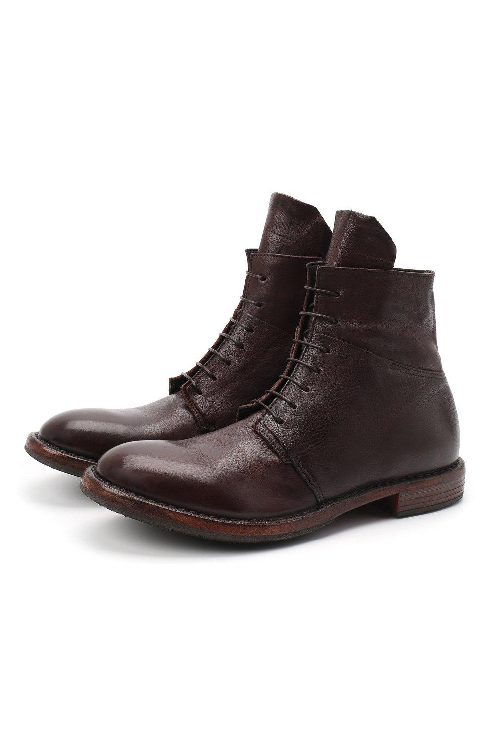 Мужские кожаные ботинки MOMA темно-коричневого цвета, арт. 2CW144-CU   Фото 1