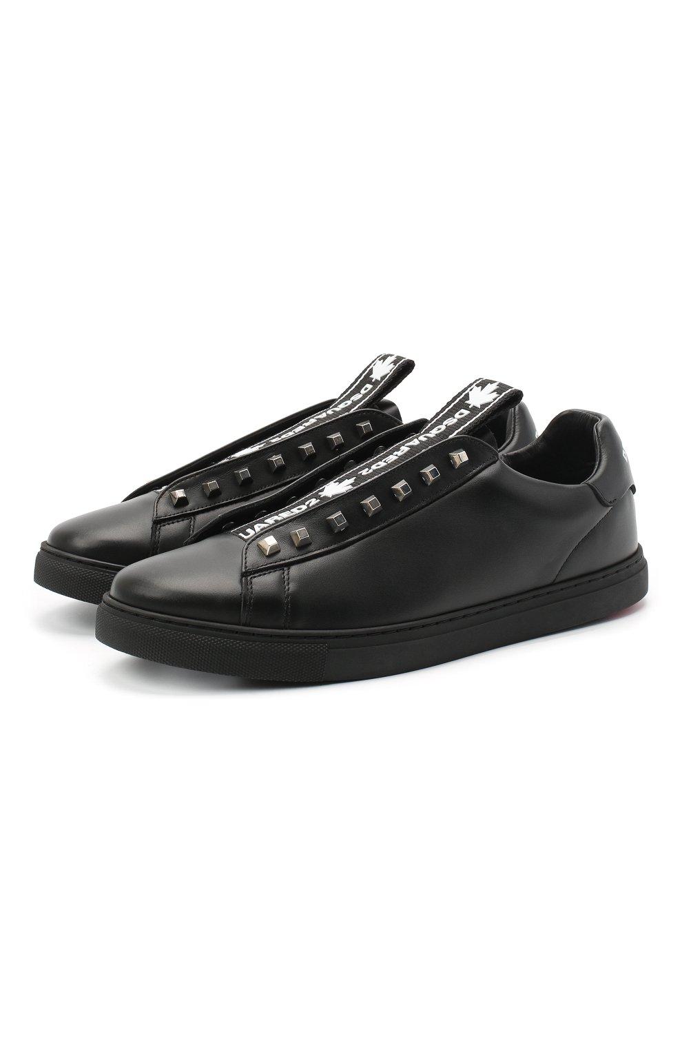 Мужские кожаные кеды DSQUARED2 черного цвета, арт. SNM0135 01503327 | Фото 1