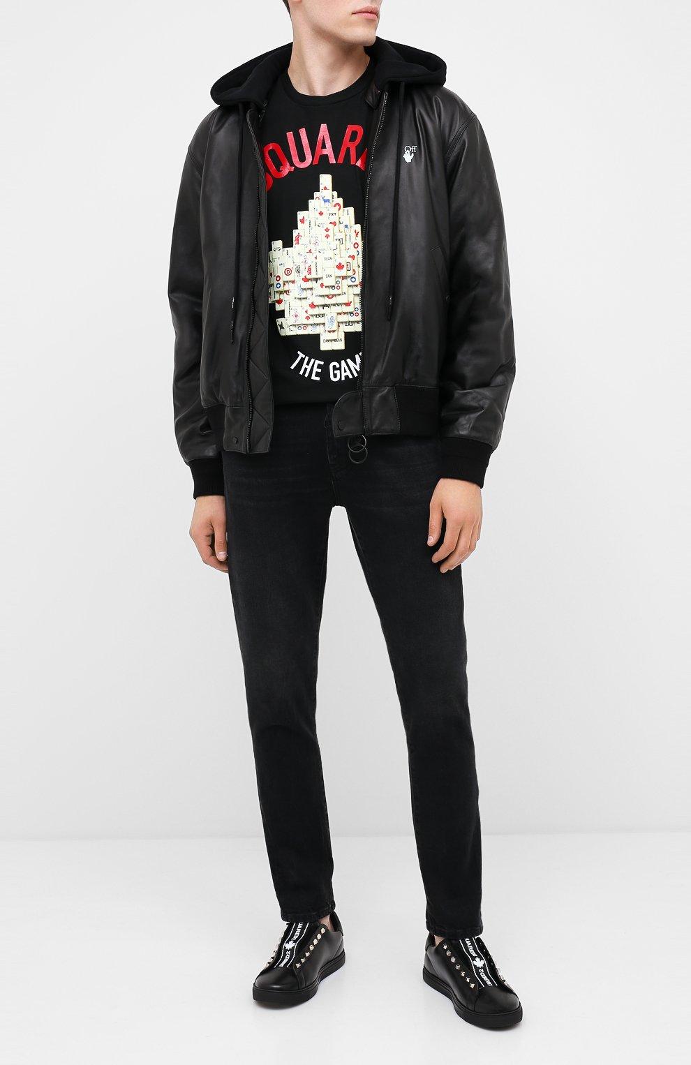 Мужские кожаные кеды DSQUARED2 черного цвета, арт. SNM0135 01503327 | Фото 2