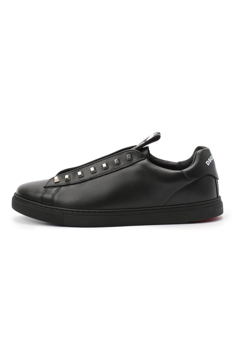 Мужские кожаные кеды DSQUARED2 черного цвета, арт. SNM0135 01503327 | Фото 3