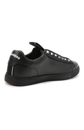 Мужские кожаные кеды DSQUARED2 черного цвета, арт. SNM0135 01503327 | Фото 4