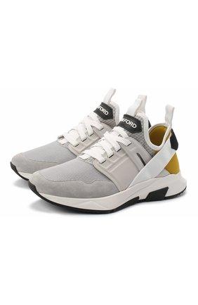 Мужские комбинированные кроссовки TOM FORD светло-серого цвета, арт. J1265T-T0F003 | Фото 1
