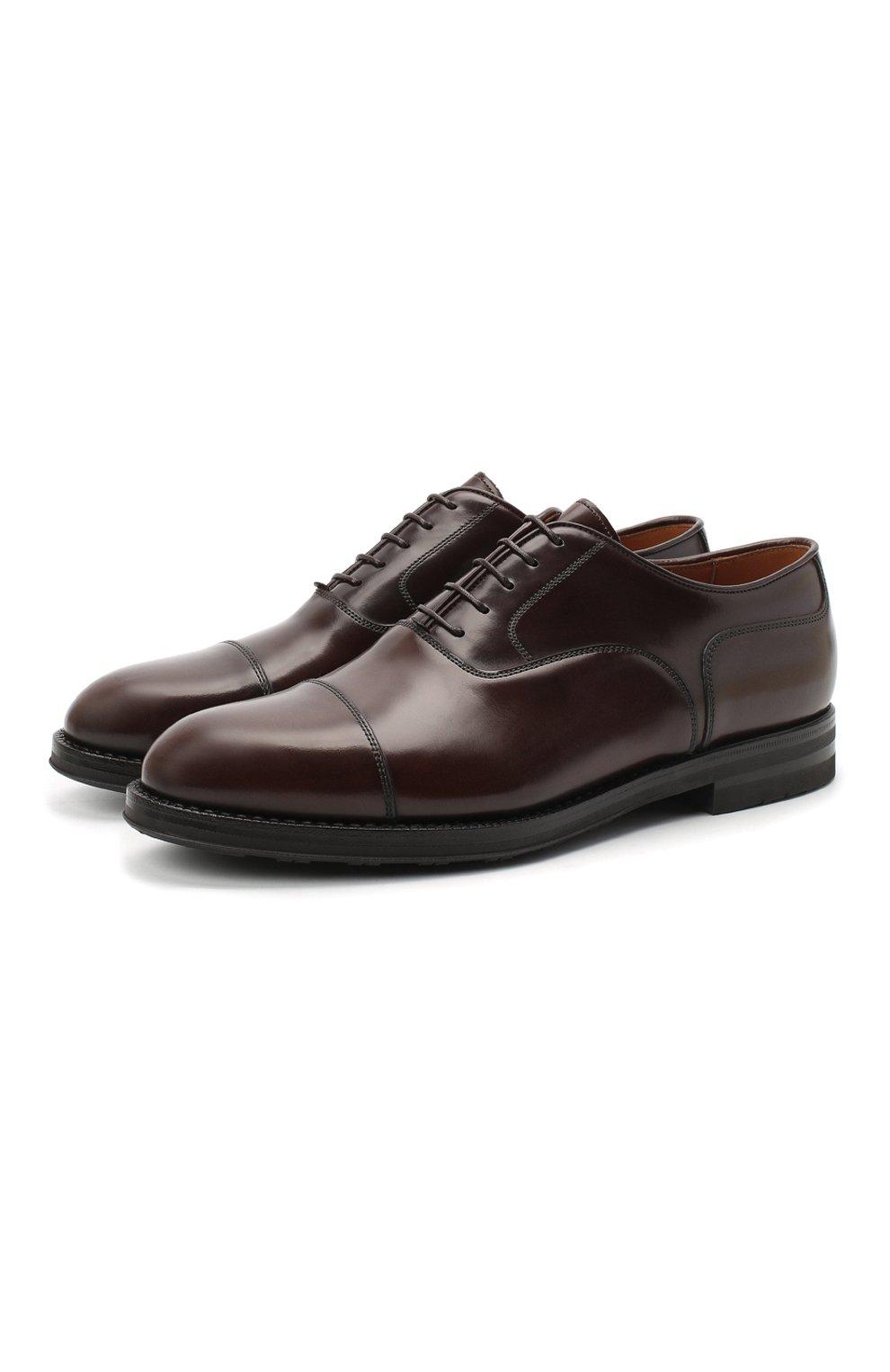 Мужские кожаные оксфорды W.GIBBS темно-коричневого цвета, арт. 0639012/0149 | Фото 1 (Материал внутренний: Натуральная кожа; Стили: Классический)