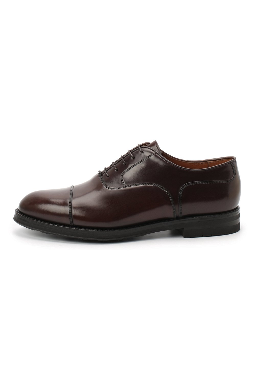 Мужские кожаные оксфорды W.GIBBS темно-коричневого цвета, арт. 0639012/0149 | Фото 3 (Материал внутренний: Натуральная кожа; Стили: Классический)