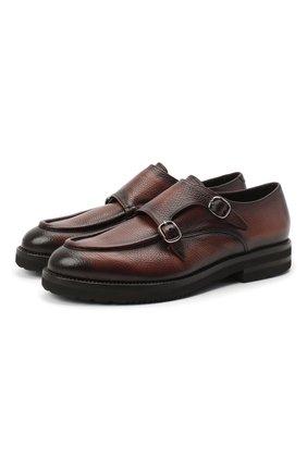 Мужские кожаные монки W.GIBBS темно-коричневого цвета, арт. 0128010/2303 | Фото 1