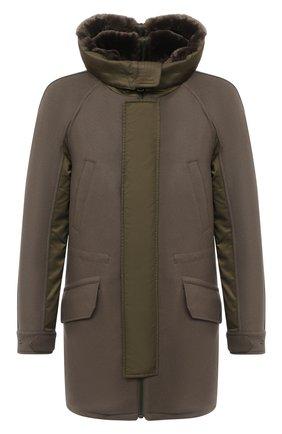 Мужской утепленное пальто YVES SALOMON хаки цвета, арт. 21WHM05296A14G | Фото 1