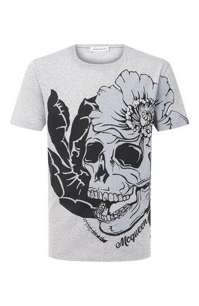 Мужская хлопковая футболка ALEXANDER MCQUEEN серого цвета, арт. 626674/QPZ59 | Фото 1