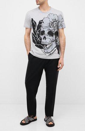 Мужская хлопковая футболка ALEXANDER MCQUEEN серого цвета, арт. 626674/QPZ59 | Фото 2
