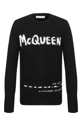 Мужской хлопковый свитер ALEXANDER MCQUEEN черно-белого цвета, арт. 626454/Q1WZL | Фото 1