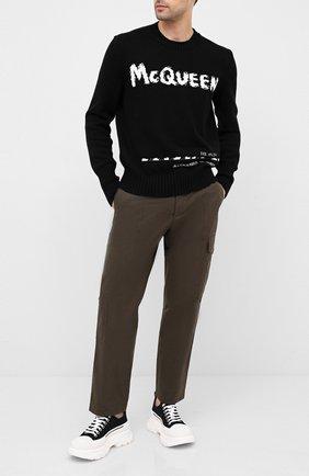 Мужской хлопковый свитер ALEXANDER MCQUEEN черно-белого цвета, арт. 626454/Q1WZL | Фото 2