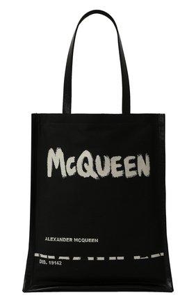 Мужская комбинированная сумка-шопер ALEXANDER MCQUEEN черно-белого цвета, арт. 625509/2B410 | Фото 1