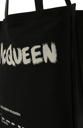 Мужская комбинированная сумка-шопер ALEXANDER MCQUEEN черно-белого цвета, арт. 625509/2B410 | Фото 2