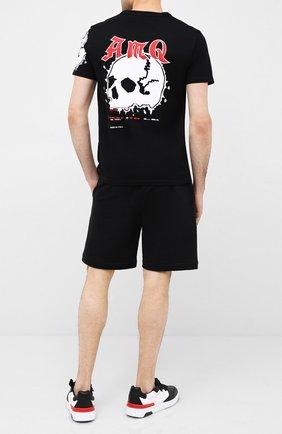 Мужская хлопковая футболка ALEXANDER MCQUEEN черного цвета, арт. 624181/QPZ62 | Фото 2