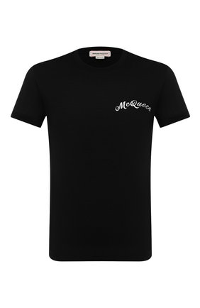 Мужская хлопковая футболка ALEXANDER MCQUEEN черного цвета, арт. 624180/QPX01 | Фото 1