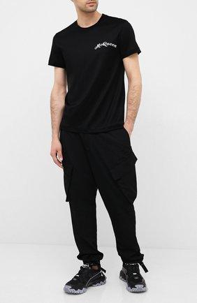 Мужская хлопковая футболка ALEXANDER MCQUEEN черного цвета, арт. 624180/QPX01 | Фото 2