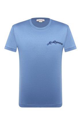 Мужская хлопковая футболка ALEXANDER MCQUEEN голубого цвета, арт. 624180/QPX01 | Фото 1