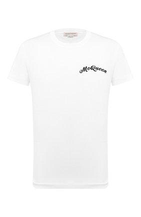 Мужская хлопковая футболка ALEXANDER MCQUEEN белого цвета, арт. 624180/QPX01 | Фото 1